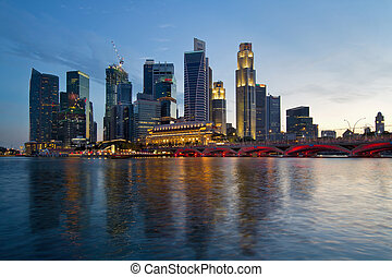 Singapore River Waterfront Skyline at Sunset