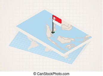Singapore selected on map with isometric flag of Singapore.