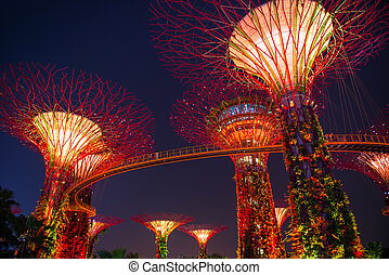 SINGAPORE-SEP 04: Night view of The Supertree Grove at Gardens b