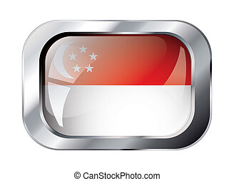 singapore shiny button flag vector illustration. Isolated abstract object against white background.
