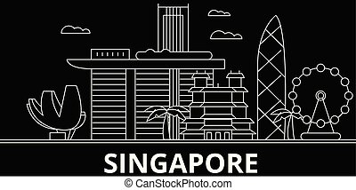 Singapore city silhouette skyline. China - Singapore city vector city, chinese linear architecture, buildings. Singapore city line travel illustration, landmarks. China flat icon, chinese outline design banner
