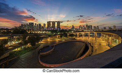 Singapore, Singapore – August 2016 : Aerial view of Singapore city skyline in sunrise or sunset at Marina Bay, Singapore