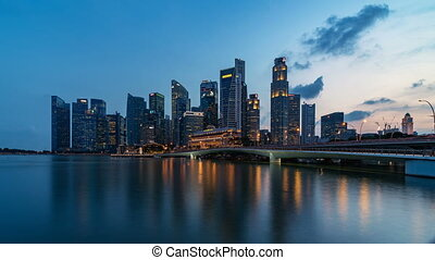 Singapore, Singapore, Timelapse - The skyline from Day to Night