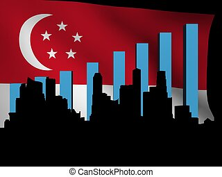 Singapore skyline and graph over flag