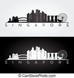Singapore skyline and landmarks silhouette, black and white...