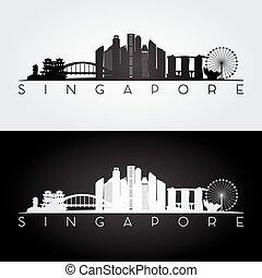 Singapore skyline and landmarks silhouette, black and white...