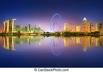 Singapore Skyline and view of Marina Bay - Singapore Skyline...