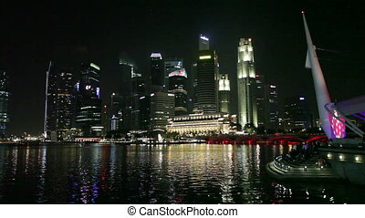 Singapore skyline at night on February 15, 2011