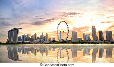 Singapore skyline at sunset