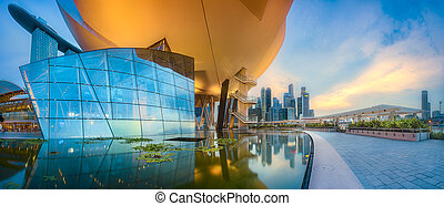 Singapore skyline background - Vibrant panorama background ...