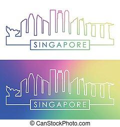 singapore, skyline., barwny, linearny, style.
