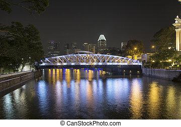 Singapore Skyline by Anderson Bridge at Night