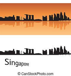 Singapore skyline in orange background in editable vector...