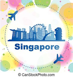 Singapore skyline with airplane great for travel design