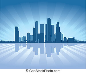 Singapore skyline with reflection in water