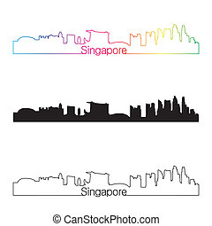Singapore skyline linear style with rainbow in editable vector file