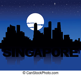 Singapore skyline moon illustration