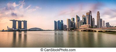 Singapore Skyline Panorama - Singapore skyline at the Marina...