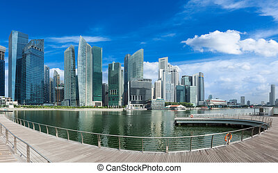 Singapore skyline panorama - Singapore skyline of business ...