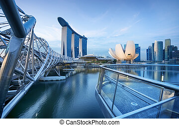 Singapore Skyline - Bay view of Singapore City.