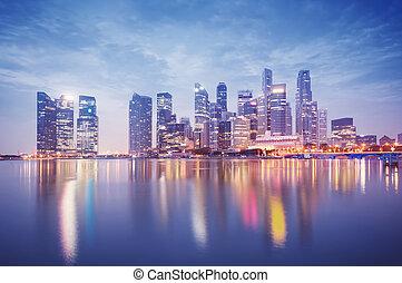 Singapore Skyline - Singapore`s business district at night.
