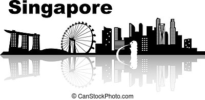 Singapore skyline skyline - black and white vector illustration