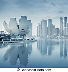 Singapore Skyline - Singapore`s business district with the...