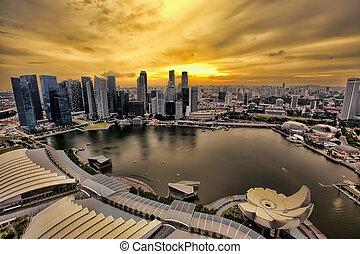 Singapore Skyline - View of Singapore city skyline at night