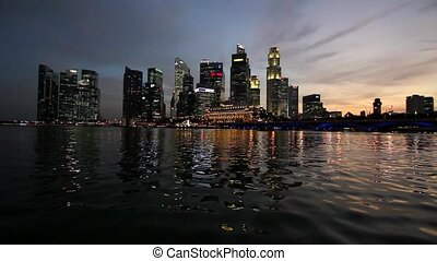 Singapore Skyline Sunset 1080p - Singapore City Skyline...