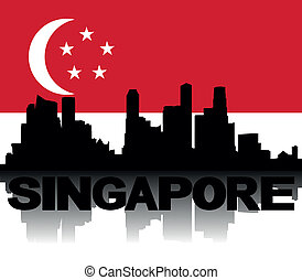 Singapore skyline text flag