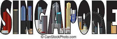 Singapore Skyline Text Outline Color Illustration
