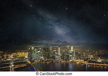 singapore skyline under a starry night sky