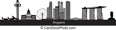 singapore skyline with merlion and airport in black and white
