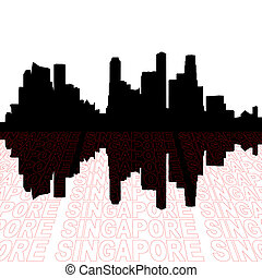 Singapore skyline with perspective text outline foreground