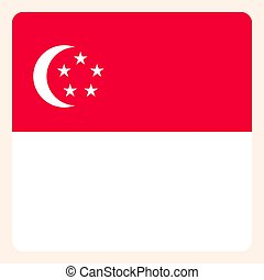 Singapore square flag button, social media communication sign, business icon.