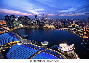 singapore stad, skyline, op de avond