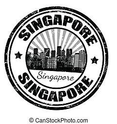 Singapore stamp - Black grunge rubber stamp with the name of...
