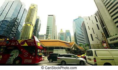 singapore, straat., timelapse, in de motie
