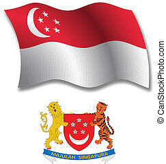 singapore textured wavy flag vector
