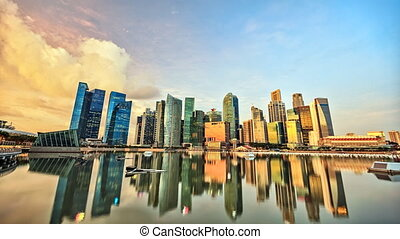 Skyline of Singapore's Central Business District timelapse.