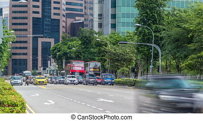 Singapore traffic around the city centre timelapse. Traffic...