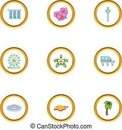 Singapore travel icons set, cartoon style