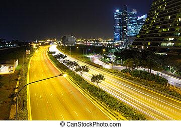 singapore város, láthatár, éjjel