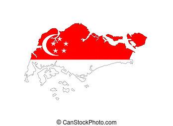singapore vlag, kaart