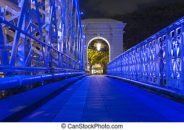 Singapore walkway - Blue illumination of pedestrian walkway...