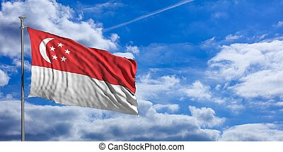 Singapore waving flag on blue sky. 3d illustration