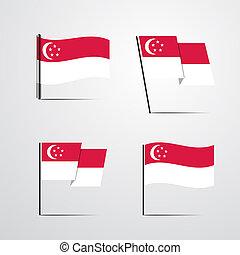 Singapore waving Flag set design vector