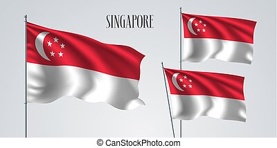 Singapore waving flag set of vector illustration