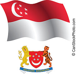 singapore wavy flag and coat