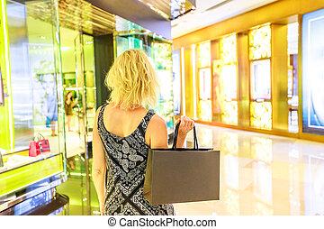 Singapore woman shopping mall
